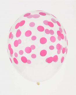 Genomskinliga prickigt rosa ballonger